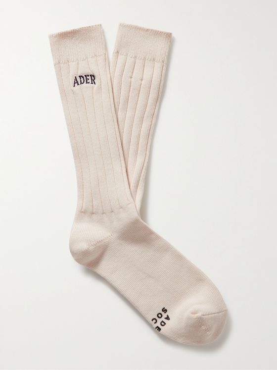 Ader Error Logo-Embroidered Ribbed Cotton Socks