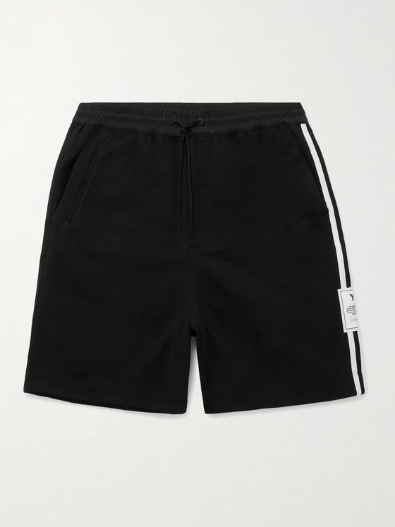 Y-3 Logo-Appliquéd Striped Loopback Cotton-Jersey Drawstring Shorts