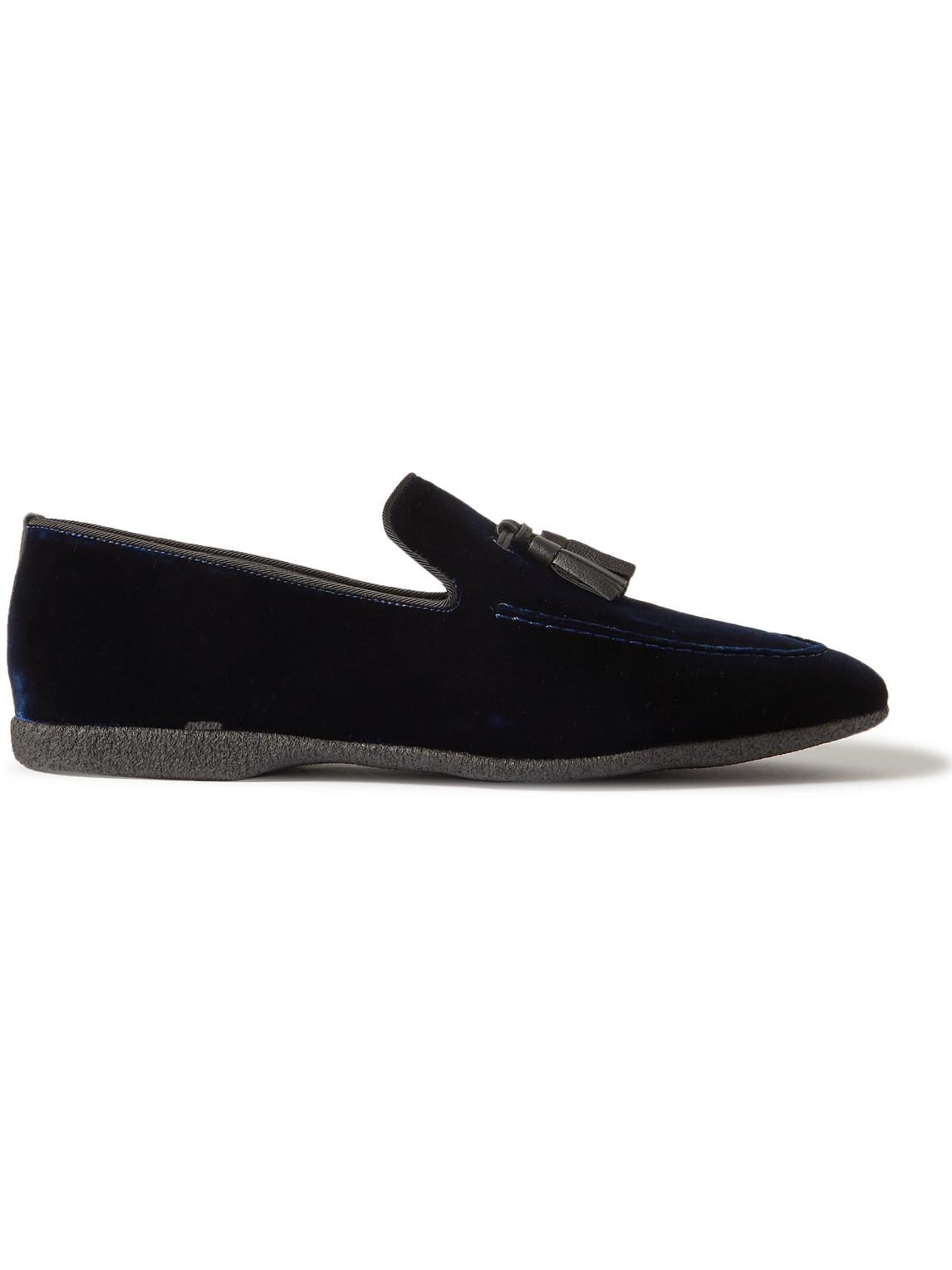 paul stuart - hope leather and grosgrain-trimmed velvet tasselled slippers - men - blue - 41