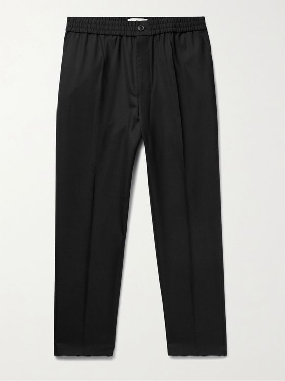 AMI PARIS Tapered Cropped Pleated Virgin Wool Trousers