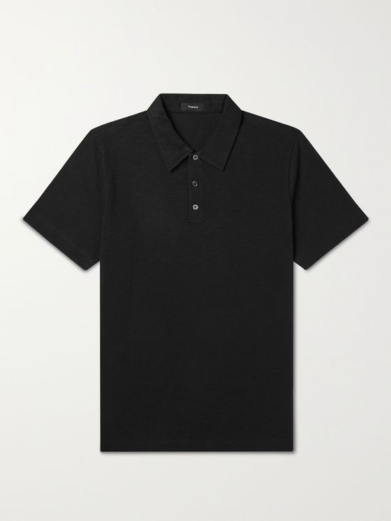 THEORY Bron Slub Organic Cotton-Jersey Polo Shirt