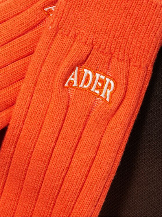 Ader Error Logo-Embroidered Ribbed Ombré Cotton Socks