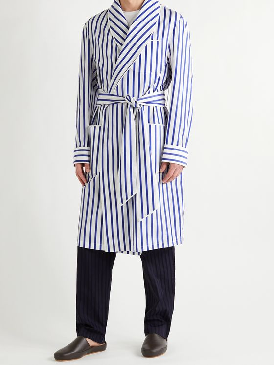 PAUL STUART Piped Striped Cotton-Broadcloth Robe