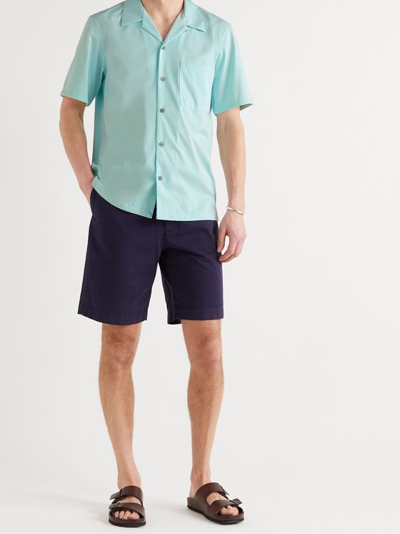 THEORY Noll Camp-Collar Cotton-Blend Shirt