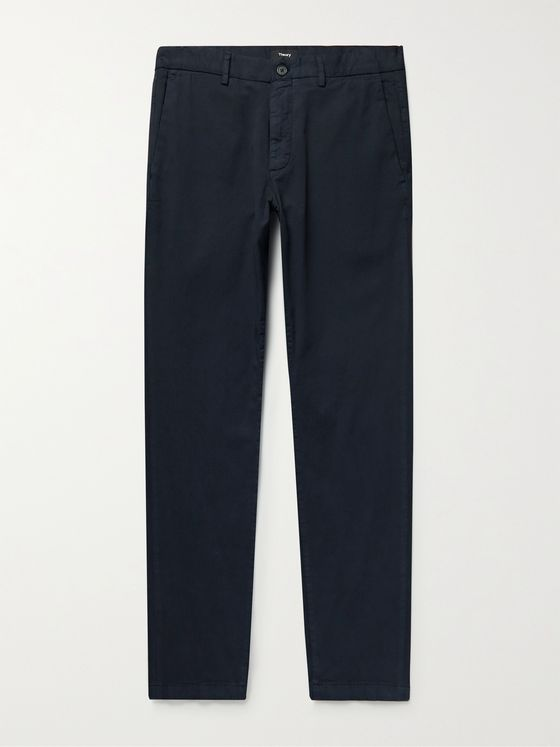 THEORY Zaine Slim-Fit Organic Cotton-Blend Twill Trousers