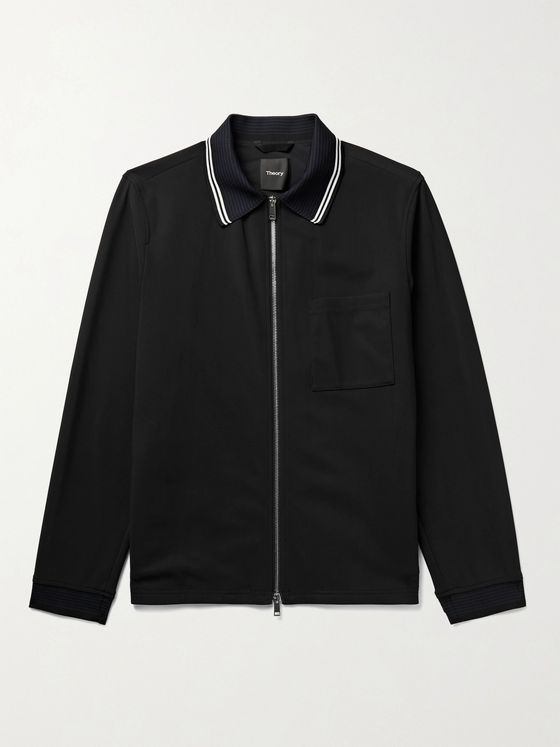 THEORY Norwalk Stripe-Trimmed Stretch-Shell Jacket