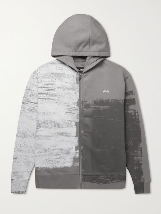 A-COLD-WALL* Logo-Print Loopback Organic Cotton-Jersey Zip-Up Hoodie