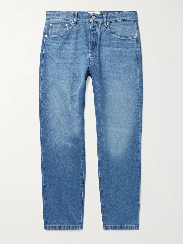 Ami Alexandre Mattiussi Cropped Tapered Denim Jeans In Blue