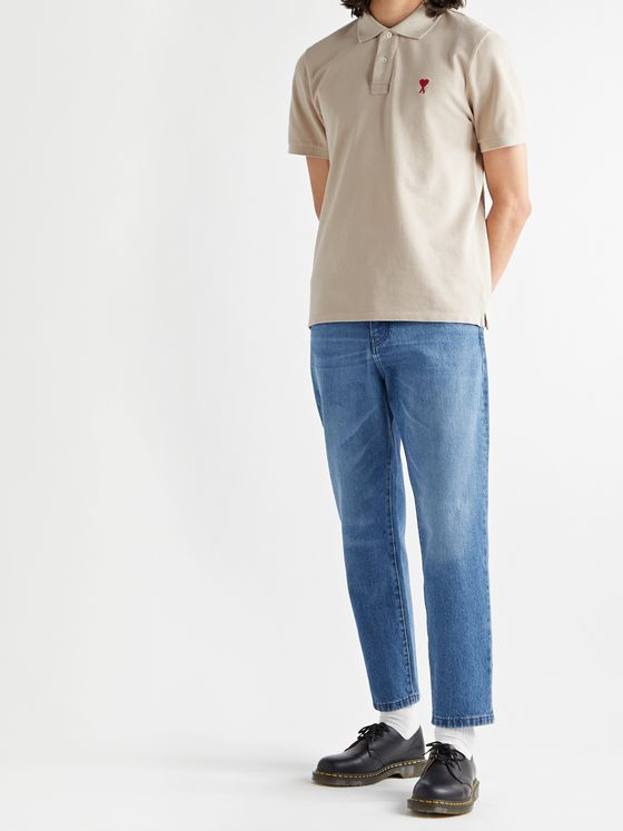 AMI PARIS Cropped Tapered Denim Jeans