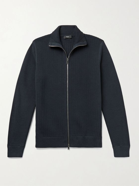 THEORY Waffle-Knit Organic Cotton-Blend Zip-Up Cardigan