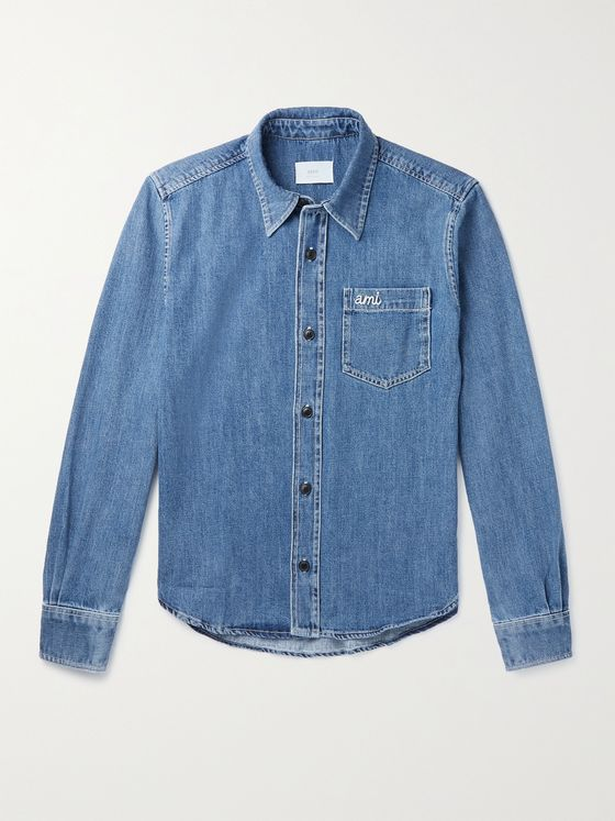 AMI PARIS Logo-Embroidered Denim Shirt