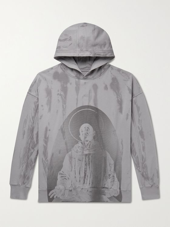 A-COLD-WALL* Printed Overdyed Loopback Cotton-Jersey Hoodie