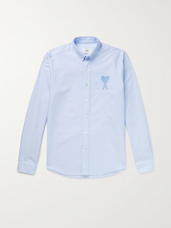 AMI PARIS Button-Down Collar Logo-Embroidered Cotton Oxford Shirt