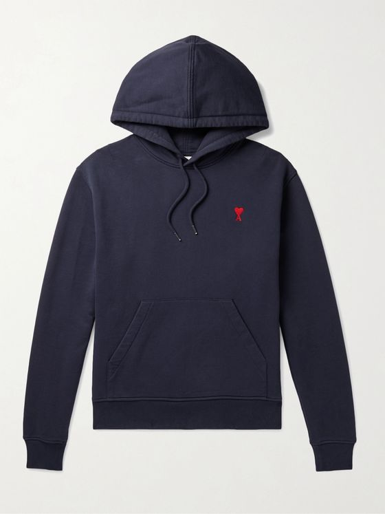 AMI PARIS Logo-Embroidered Loopback Cotton-Jersey Hoodie