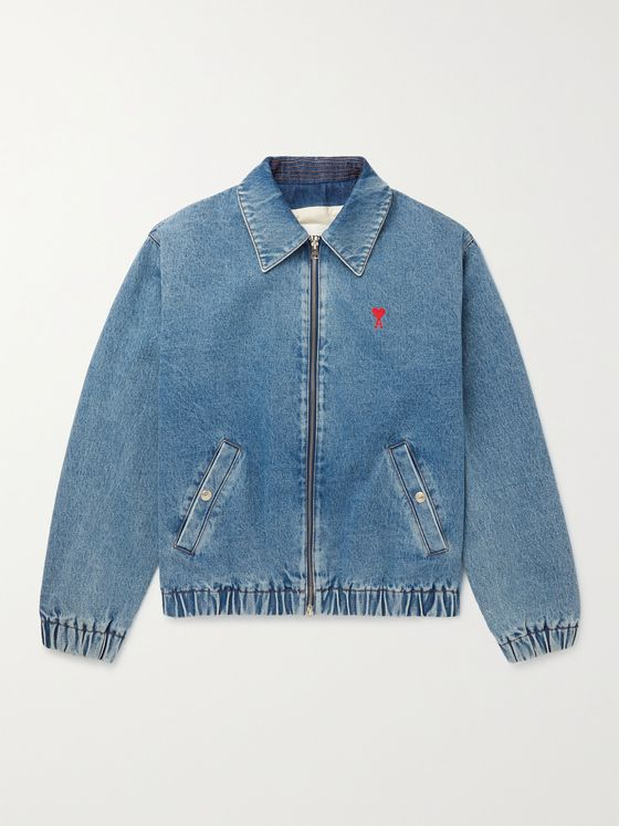 AMI PARIS Logo-Embroidered Denim Jacket