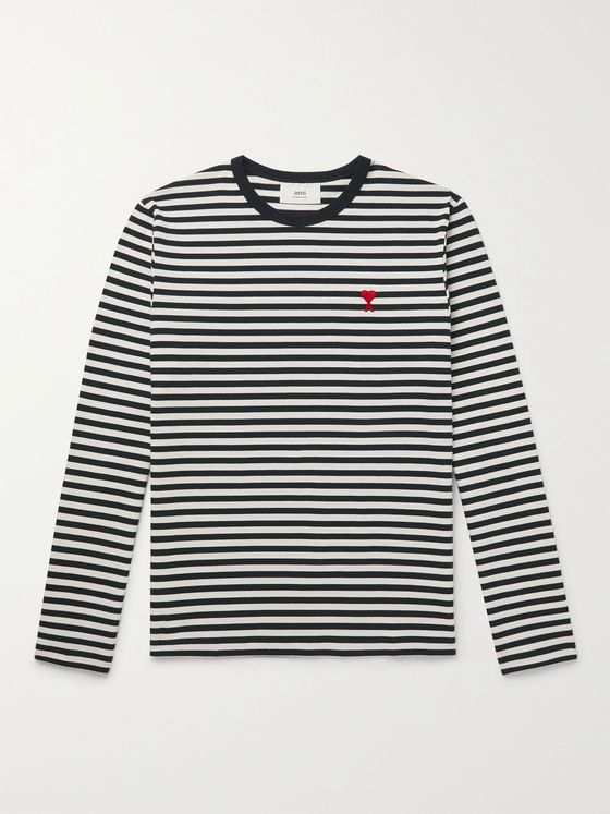 AMI PARIS Logo-Embroidered Striped Organic Cotton-Jersey T-Shirt
