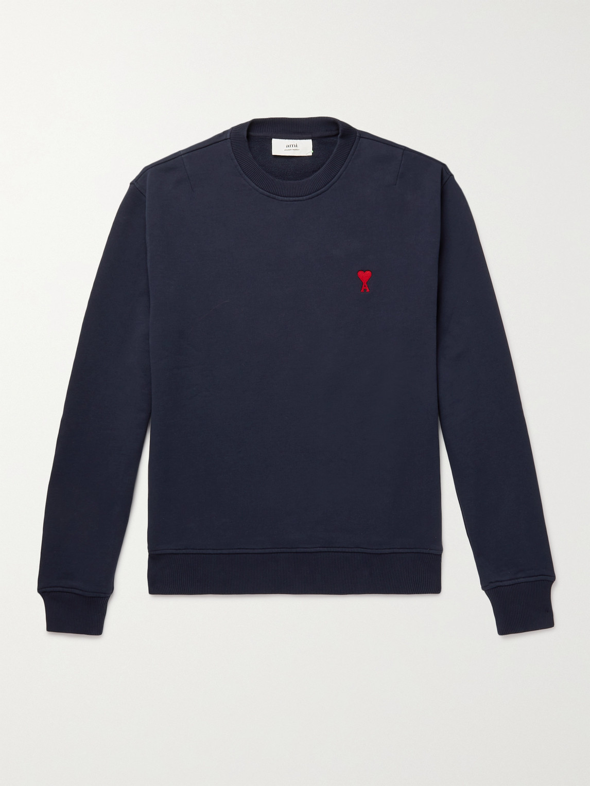 Ami Alexandre Mattiussi Slim-fit Logo-embroidered Mélange Loopback Cotton-jersey Sweatshirt In Navy