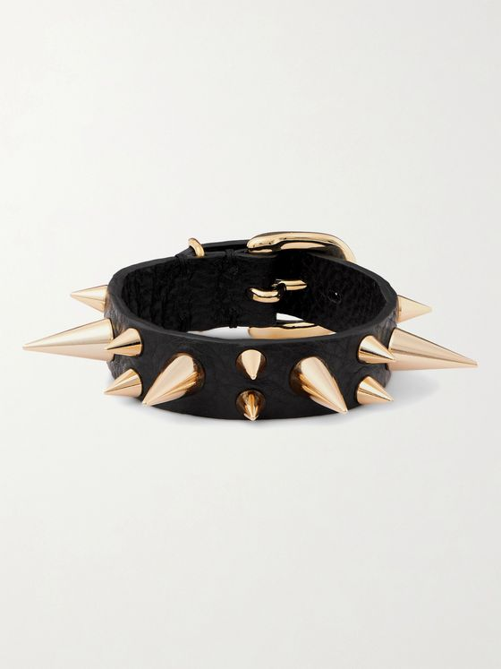 UNDERCOVER Spiked Textured-Leather and Gold-Tone Bracelet