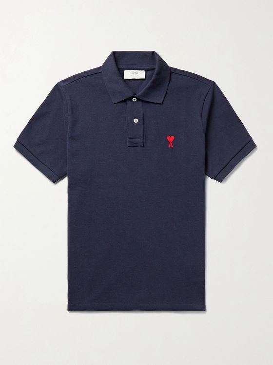 AMI PARIS Logo-Embroidered Cotton-Piqué Polo Shirt