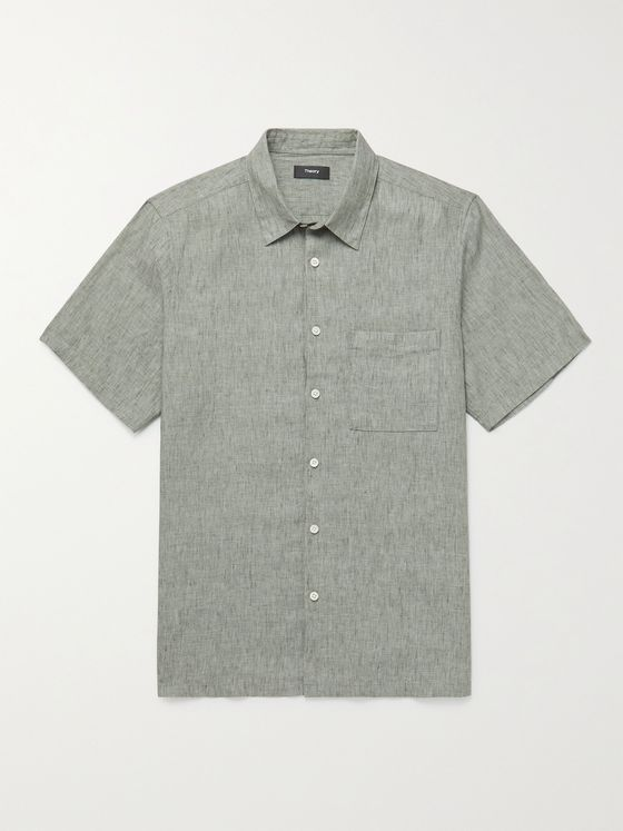 THEORY Irving Mélange Linen Shirt