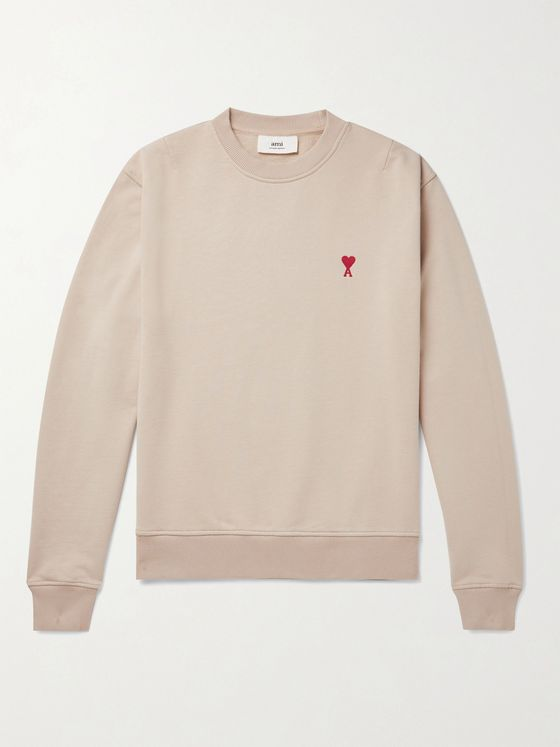 AMI PARIS Slim-Fit Logo-Embroidered Loopback Cotton-Jersey Sweatshirt
