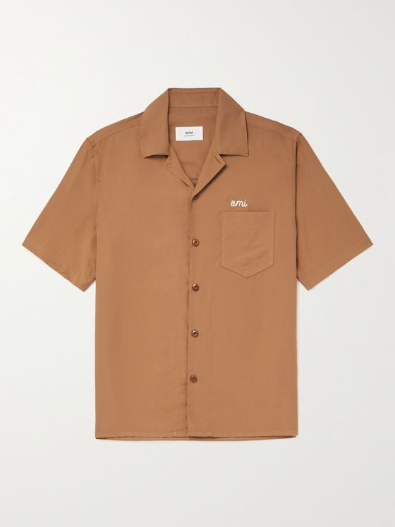AMI PARIS Camp-Collar Logo-Embroidered Woven Shirt
