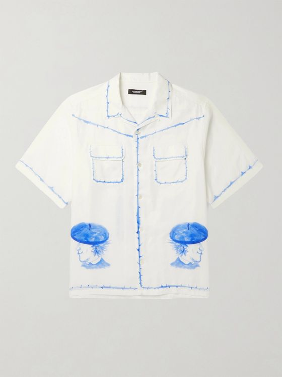 UNDERCOVER Camp-Collar Printed Cotton-Voile Shirt
