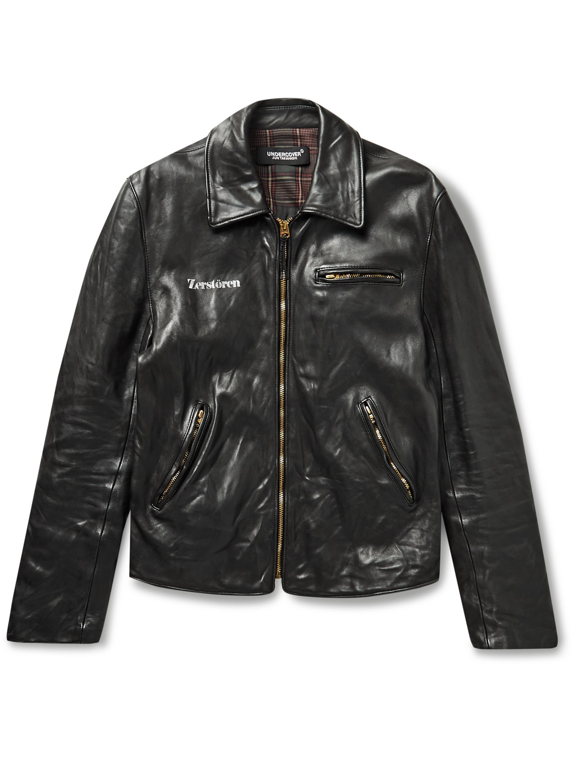 Undercover PRINTED CREASED-LEATHER JACKET