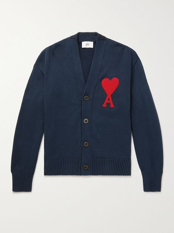 AMI PARIS Slim-Fit Logo-Embroidered Cotton-Blend Cardigan