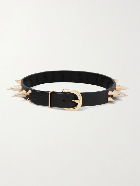 UNDERCOVER Spiked Textured-Leather and Gold-Tone Choker