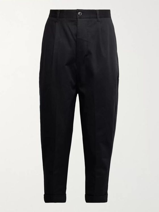AMI PARIS Tapered Cropped Pleated Cotton-Twill Trousers