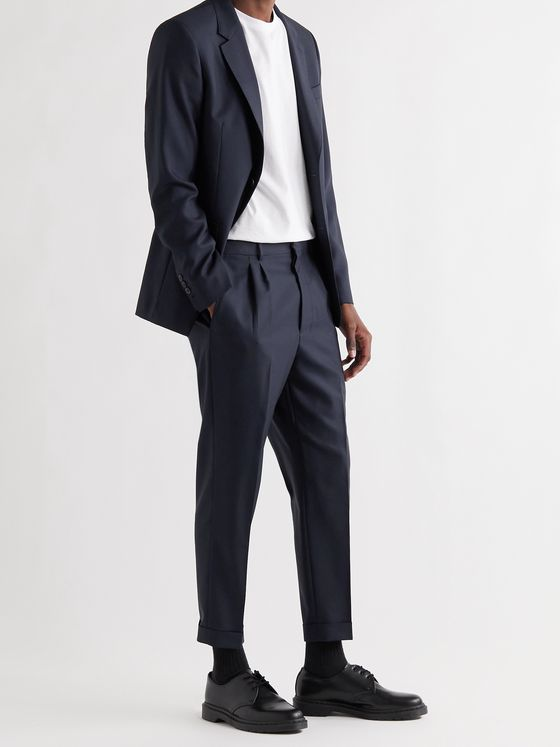 AMI PARIS Tapered Cropped Pleated Wool Suit Trousers