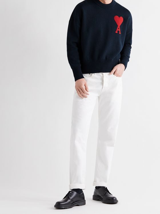 AMI PARIS Logo-Intarsia Cotton-Blend Sweater