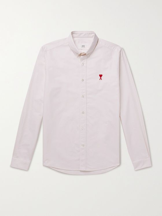 AMI PARIS Slim-Fit Logo-Embroidered Cotton Oxford Shirt