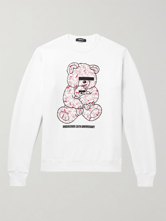 UNDERCOVER UBEAR Printed Loopback Cotton-Jersey Sweatshirt