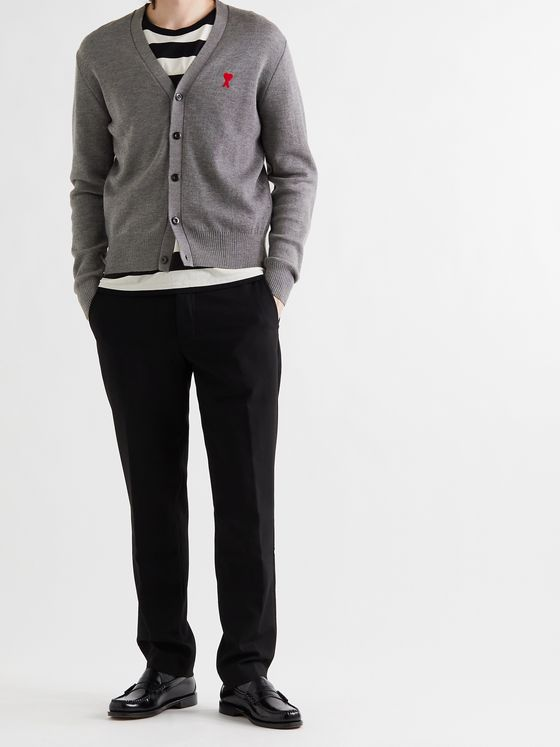AMI PARIS Slim-Fit Logo-Embroidered Mélange Merino Wool Cardigan