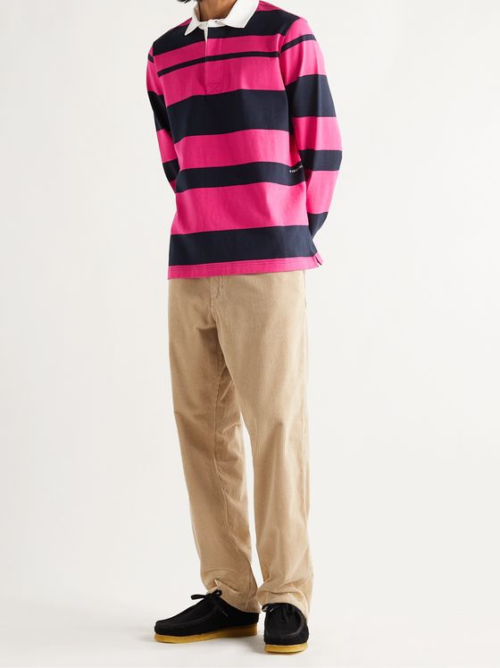 Pop Trading Company Striped Cotton-Jersey Polo Shirt