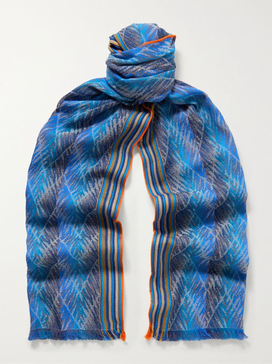 MISSONI Fringed Cotton-Jacquard Scarf