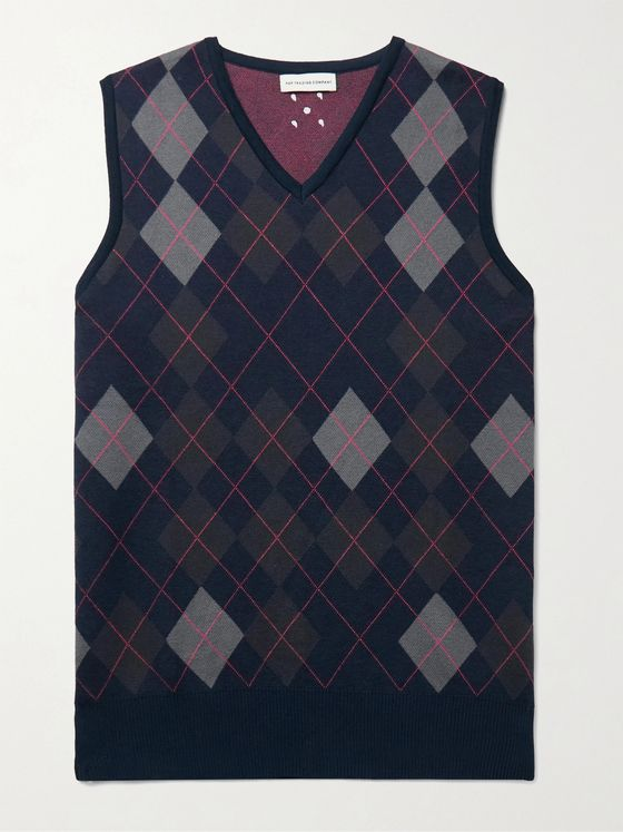 POP TRADING COMPANY Burlington Logo-Embroidered Argyle-Jacquard Cotton Vest