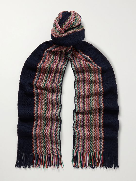 MISSONI Fringed Striped Crochet-Knit Cotton Scarf