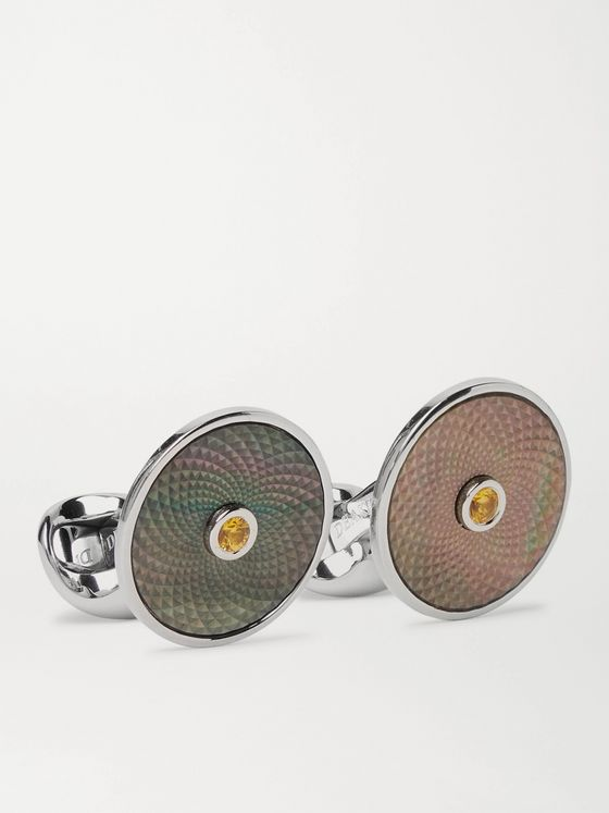 DEAKIN & FRANCIS Sterling Silver, Mother-of-Pearl and Sapphire Cufflinks