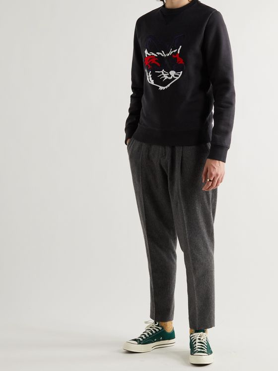 MAISON KITSUNÉ Embroidered Organic Fleece-Back Cotton-Jersey Sweatshirt
