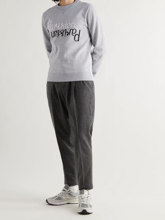 MAISON KITSUNÉ Embroidered Printed Fleece-Back Cotton-Jersey Sweatshirt