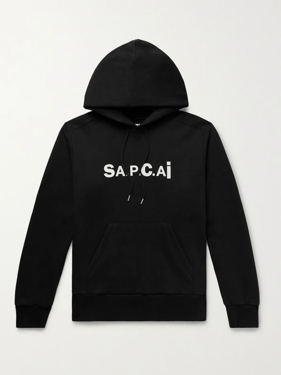 A.P.C. + Sacai Taiyo Zip-Detailed Logo-Print Loopback Cotton-Jersey Hoodie