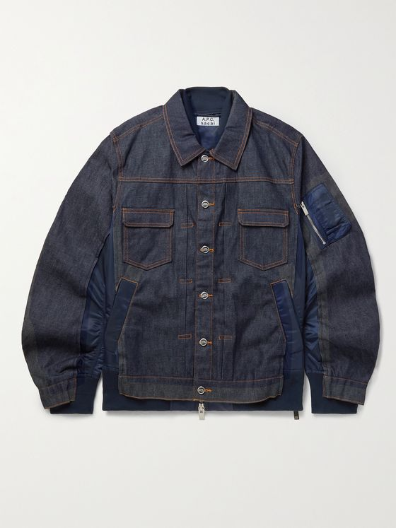 A.P.C. + Sacai Oversized Nylon-Panelled Denim Jacket