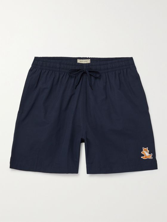 MAISON KITSUNÉ Chillax Fox Mid-Length Logo-Appliquéd Swim Shorts