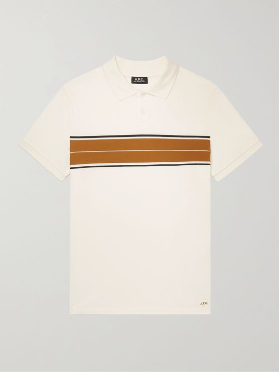 A.P.C. Ruben Slim-Fit Striped Cotton-Piqué Polo Shirt