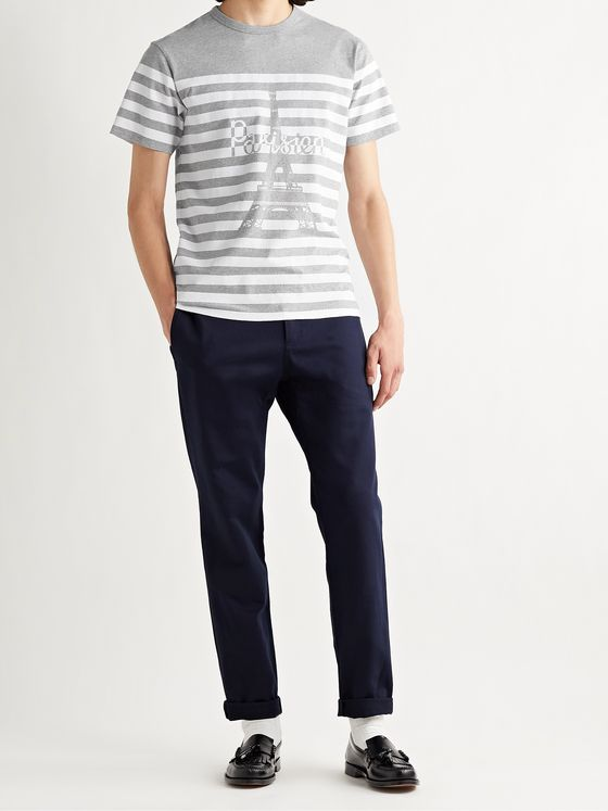 MAISON KITSUNÉ Striped Logo-Print Cotton-Jersey T-Shirt
