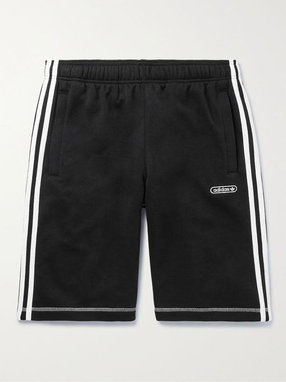 ADIDAS ORIGINALS Striped Cotton-Blend Shorts