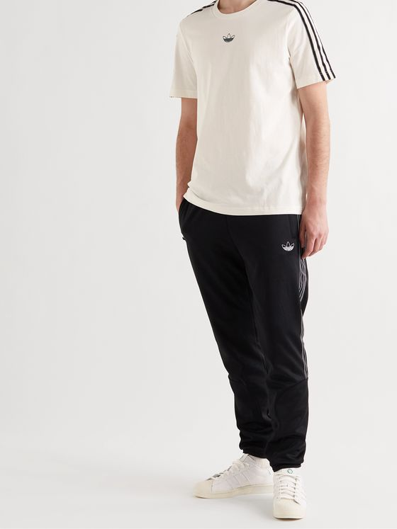 ADIDAS ORIGINALS SPRT Logo-Embroidered Striped Cotton-Jersey T-Shirt